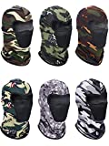 6 Pieces Summer Balaclava Face Mask Breathable Sun Dust Protection Mask Long Neck Cover for Outdoor Activities (Camouflage Colors)