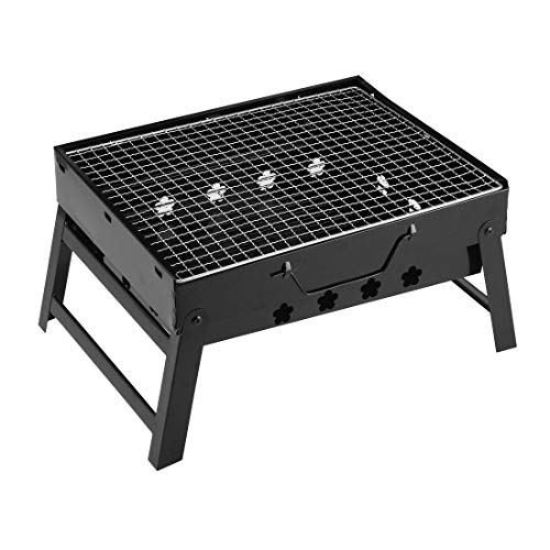 Find Bargain uxcell Barbecue Grill Portable Lightweight Simple Charcoal Grill Foldable BBQ Grill for...
