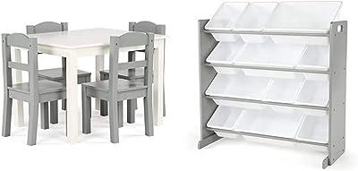 Humble Crew Kids Wood Table 4 Chairs Set, White/Grey & Toy Organizer, Toddler, Grey/White