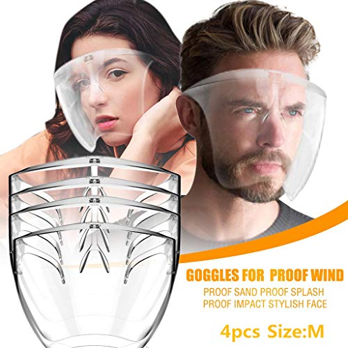 【USA Stock】Reusable Clear Face_Mask for Adults,Clear Face_Shields Goggle Durable Plastic Transparent Anti Fog Protection Breathable Comfortable Visible Expression for Adults
