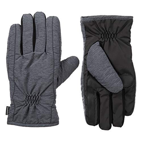 Isotoner - Guantes para hombre con pantalla táctil y doble forro para clima frío con tecnología repelente al agua, color negro jaspeado, MD