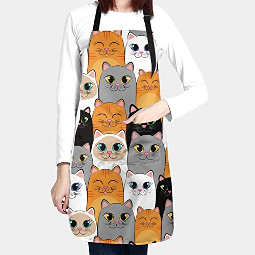 Seamless Pattern With Cats Gray White And Black Kittens Chef Apron Kitchen Cooking Aprons For Women Men Adjustable Bib Waterproof with 2 Pockets Personalized