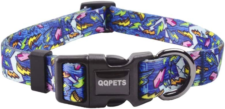 QQPETS Adjustable Soft Comfortable Dog Collar with Print Patterns for X-Small Pet Girl Boy Puppy Walking Running (XS, Blue)