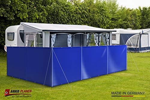 ! Windschutz Sichtschutz Camping aus LKW Plane (LKW-Planenqualität) stabil m. Laschen&Ösen (1,2m x 6m, Lichtgrau RAL7035)