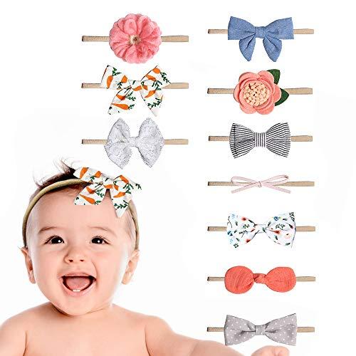 VCOSTORE Baby Girl Stirnbänder, 10 Pcs süßes Bowknot Haarband Elastic Turban für Kleinkinder Babys Kinder
