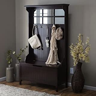 Espresso Entryway Hall Tree with Mirror Coat Hooks and Storage Bench (Black, 1) by Belham Living