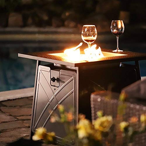 28' Outdoor Propane Fire Pit - Patio Heater Gas Table Square Fireplace Blue Glass | Happy Parents Depot