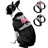 Beirui Rhinestone Dog Harness - Reflective Bling Nylon Dog Vest with Sparkly Bow Tie for Small Medium Large Dogs Walking Party and Wedding,Pink,S