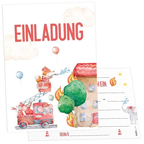 12 Feuerwehr Einladungskarten inkl. Umschläge perfekte Einladung zum Kindergeburtstag oder Kinder Party | Geburtstag-Einladungen zum ausfüllen