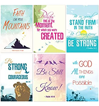 Cavepop Inspirational Bible Verse Quote Greeting Cards Stationary Set Thinking of You Encouragement Cards with Envelopes - 4 x 6 Inches - 36 Pack  6 Designs