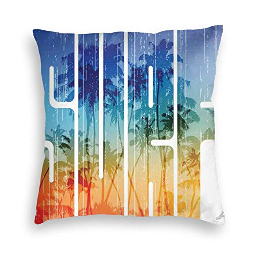 FULIYA Zippered Velvet Pillowcases,Summer Surf Retro Letters That Reflect The Seacoast with Palm Tree Extreme Sports Art,Super Soft and Cozy Luxury Pillow Cases 20X20 inches
