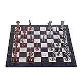 GiftHome British Redcoats Juego de ajedrez de Metal de Cobre Envejecido para Adultos, Piezas Hechas a Mano y diseño de mármol, Tablero de ajedrez de Madera, King 3.5 Pulgadas