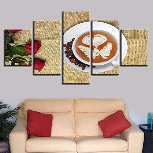 5D DIY imagen modular obra de arte de pared impresiones de moda 5 paneles café HD lienzo pintura al óleo hogar cartel decorativo para sala de estar