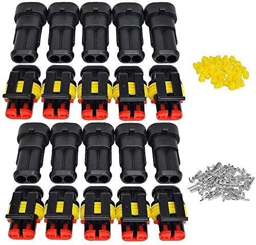 RUNCCI-YUN 10 Kit 2 Pin Connettore Elettrico spina Impermeabile1.5mm terminale 20–16 AWG PA66 Nylon Connettore Impermeabile per Auto Camion Marina Moto