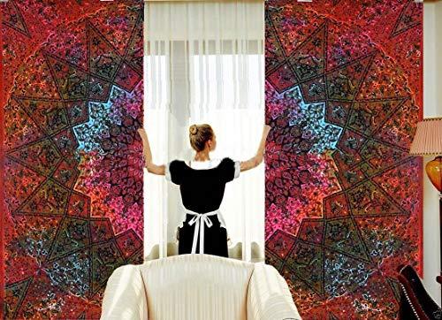 Shopping-Destination - Cortina decorativa con diseño de mandala hindú, 80 x 26 cm