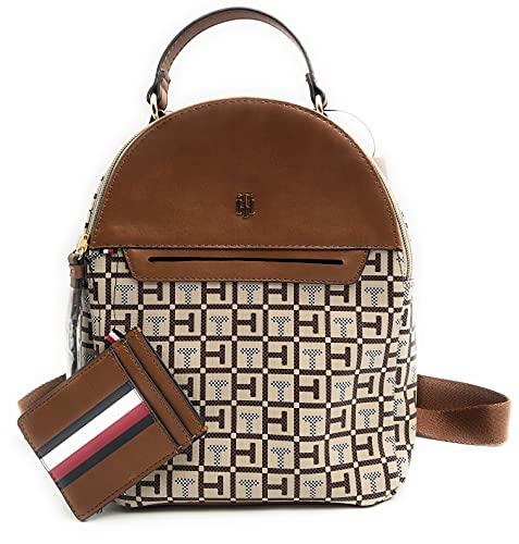 Tommy Hilfiger Mochila, mochila de ciudad, minirmochila, mochila de ocio, color marrón/beige, 20 x 20 x 10 cm, asa de transporte, 8446
