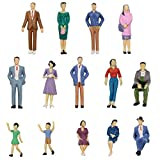 P3001 56pcs 1:30 Painted Figures I Scale Standing and Seat People Assorted Poses Model Trains