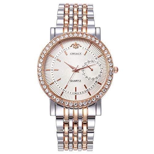 Reloj De Banda De Acero De Aleación De Escala Simple para Hombres Y Mujeres Simples De Negocios De Moda Casual Fideos Blancos de Oro Rosa