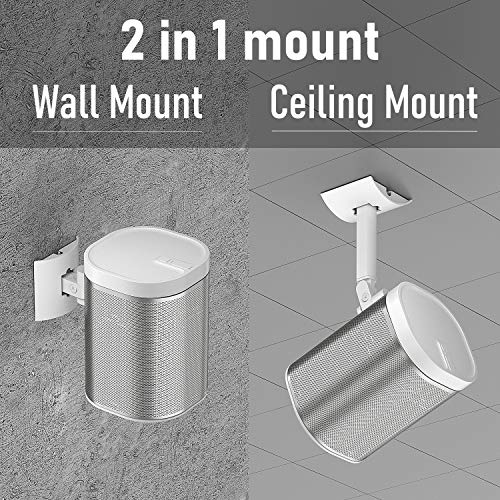 Wall and Ceiling Mount for Sonos Play 1 Bracket Wall Mounts Swivel & Tilt Adjustable Mounting Brackets for Play:1 Sonos Speaker, Single White (Not for Sonos One/One SL)