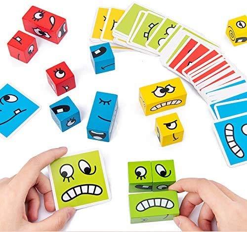 Pppby Bloques de construcción de cubos que cambian la cara, bloques de construcción de madera juguete Emoji rompecabezas juguetes educativos