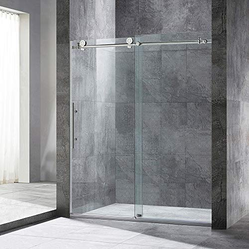 """WOODBRIDGE Frameless Sliding, 56""""-60"""" Width, 76"""" Height, 3/8"""" (10 mm) Clear Tempered Glass, Finish, Designed for Smooth Door Closing and Opening. MBSDC6076-C, C-shower 60"""" X 76"""" Chrome I"""