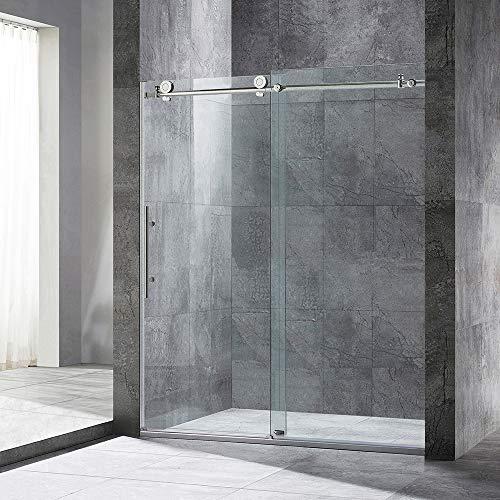 WOODBRIDGE MBSDC6076-B Frameless Sliding Glass Shower Door | 56'-60'W x 76'H | Brushed Nickel Finish