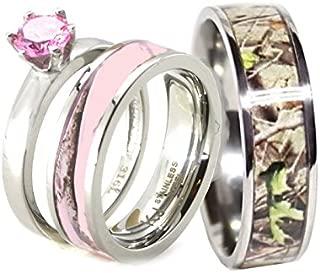 His and Her Pink Camo Wedding Rings Set - Wedding Ring - Engagement Ring - His and Hers Rings - Camo Rings - Cz Engagement Rings - Camo Rings for Men - Cubic Zirconia Wedding Sets