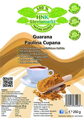 Guarana Paulina Cupana Koffein Pulver pur | Energy Drink Pulver | 100% Natürlich | OHNE chemische Zusatzstoffe | 1er Pack (250 g)