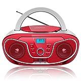 LONPOO Radio FM Lecteur CD/MP3 Portable avec Port USB2.0/AUX-in/Prise Casque/Bluetooth