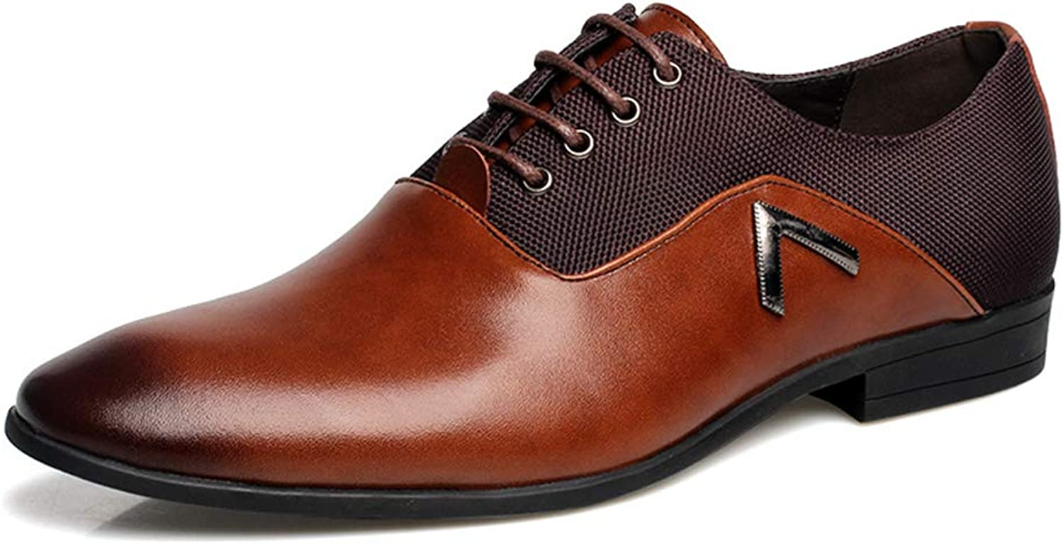 LXYIUN Men's business shoes,Trend Breathable Genuine Leather Round head Leather shoes,Brown,42