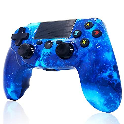 Mando inalámbrico para PS4, Controlador de Doble vibración de Alto Rendimiento Compatible con Playstation 4   Pro Slim PC con función de Audio, Mini LED - Blue