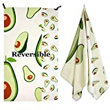 """Exclusivo Mezcla Microfiber Sand Free Beach Towel, Reversible Fruits Collection, Large Sports/Swimming/Pool Towel for Kids and Adults (Avocado, 30"""" x 60"""") - Quick Dry and Lightweight"""