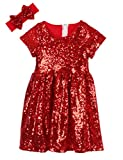 Cilucu Flower Girl Dress Baby Toddlers Sequin Dress Kids Party Dress Bridesmaid Wedding Gown Birthday Dress Red 6T-7T