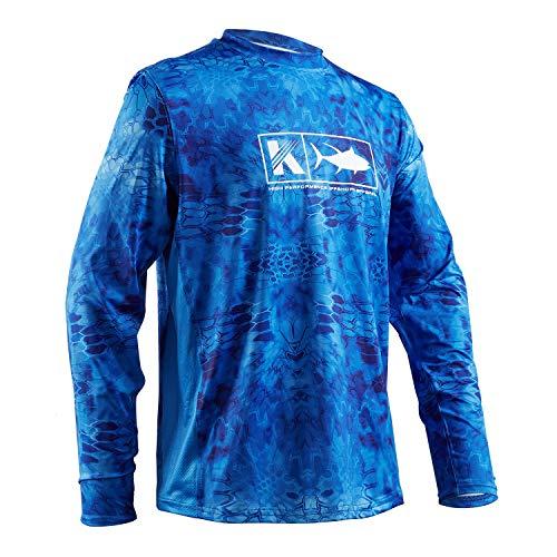 Performance Fishing Shirt Men UPF 50 UV Sun Protection Long Sleeve Quick Dry Mesh Cooling Rash Guard Kryptek Loose Fit Blue Large