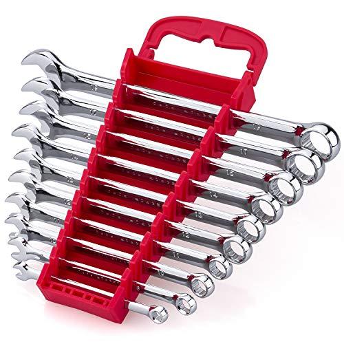 Max Torque 10-Piece Premium Combination Wrench Set, Chrome Vanadium Steel, Long Pattern Design | Includes Metric Sizes 6, 8, 10, 11, 12, 13, 14, 15, 17, 19mm with Storage Rack Organizer