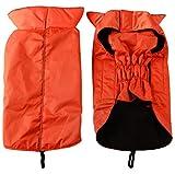 JoyDaog Fleece Lined Warm Dog Jacket for Winter Outdoor Waterproof Reflective Small Dog Coat Orange M