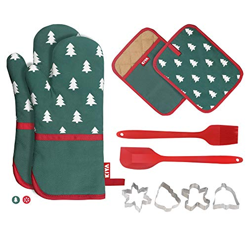 KIYA Ofenhandschuhe und Topflappen Weihnachtsset (10-Teilig), Baumwollen mit Anti-Rutsch Silikon Hitzebeständige bis zu 260°C, 1 Silikonspatel, 1 Silikonbürste und 4 Ausstechformen - Grün