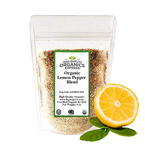 HQOExpress   Organic Lemon Pepper Seasoning and Rub   4 oz. Bag