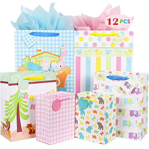 Fzopo Baby Gift Bag Assortment, Heavy Duty Paper Gift Bags, Pack of 12 Small, Medium, Extra Large Bags for Baby Shower, Birthday, Parties, Baby Girl, and Baby Boy