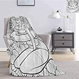 Elma Banju Nautical Fluffy Blanket Microfiber Tattoo Coloring Book Style Sexy Pin Up Girl with Hibis...