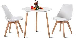H.J WeDoo Table de Salle à Manger et 2 Chaises, Ronde Table en Bois Diamètre 80 cm, Chaises 52 x 48 x 82 cm, Ensemble de M...