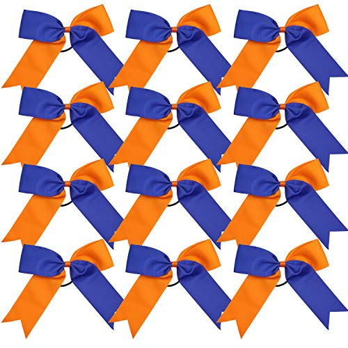 Cheerleading Bow Jumbo Cheer Bows 12 Pcs 7 Inch Ponytail Holder Cheerleader Bows Hair Tie (Orange/Royal Blue)