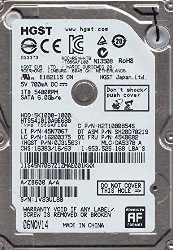 HTS541010A9E680, PN 0J31563, MLC DA5378, Hitachi 1TB SATA 2.5 Disco Duro