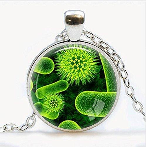 Virus-Anhänger, Virologie-Schmuck, Virus-Halskette, Mikroben-Biologie-Anhänger, wissenschaftliches Geschenk, mikroskopische Ansicht eines Virus-Anhängers