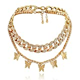 Statment Butterfly Cuban Link Necklace Rhinestone Chain Gold for Women Girls Hip Hop Bling Chain Crystal Choker Necklace Jewelry