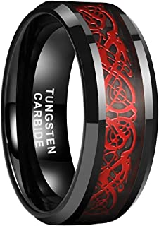 iTungsten 6mm 8mm Black Tungsten Carbide Rings for Men Women Wedding Bands Celtic Dragon Purple/Green/Red Carbon Fiber Inl...