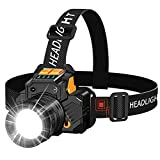 Led Headlamp, Upgraded Version Motion Sensor Headlamp, 2000 Lumen Super Bright Headlight, 3 Modes, Rotary Zoombale, Waterproof, USB Rechargeable Headlamp for Fishing Camping Hiking