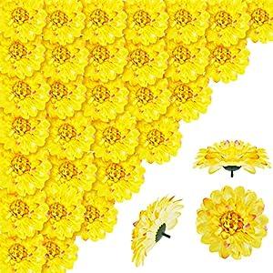 willbond 30 pieces halloween artificial yellow marigold flower heads fake bulk silk marigold diy decorative marigold flowers for halloween home wedding party festival hat decoration silk flower arrangements