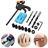 Linekong 15° Pocket Hole Screw Jig Dowel Drill Joinery Kit, 15pcs Carpenters Wood Woodwork Guides 6/8/10mm Drive Adapter for Carpenters Woodwork Guides Joint Angle Tool Carpentry Locator