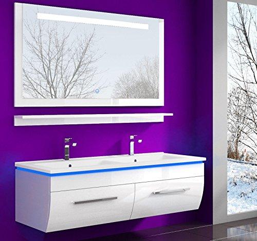 HOMELINE Badmöbel Set Waschbecken Spiegel und Ablage Vormontiert Badezimmermöbel Doppelwaschbecken Weiss 120 cm LED Hochglanz lackiert Homeline1